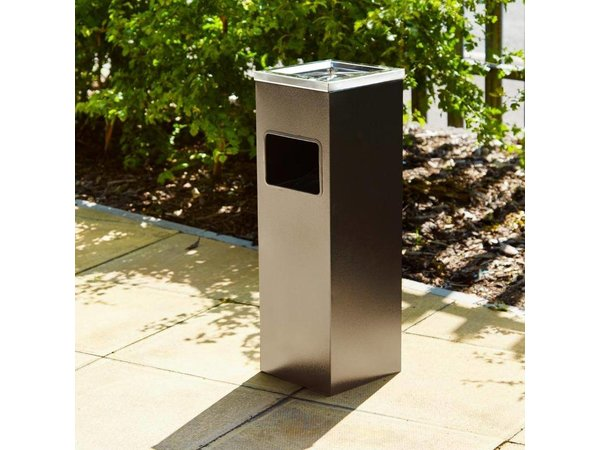 XXLselect Waste collector / Papierbar with Ashtray - Black - 200x200x (H) 600mm.