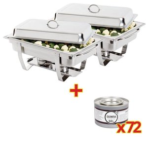 XXLselect 2 x Chafing Dishes GN 1/1 | Incl. 72 Blikken Brandpasta