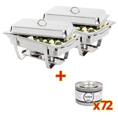 Olympia 2 x Chafing Dishes GN 1/1 | Incl. 72 Blikken Brandpasta