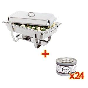 XXLselect Chafing Dish GN 1/1   Incl. 24 Blikken Brandpasta