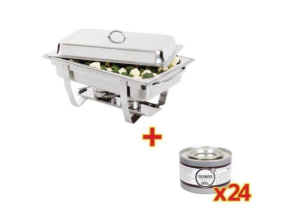 Olympia Chafing Dish GN 1/1 | Incl. 24 Blikken Brandpasta