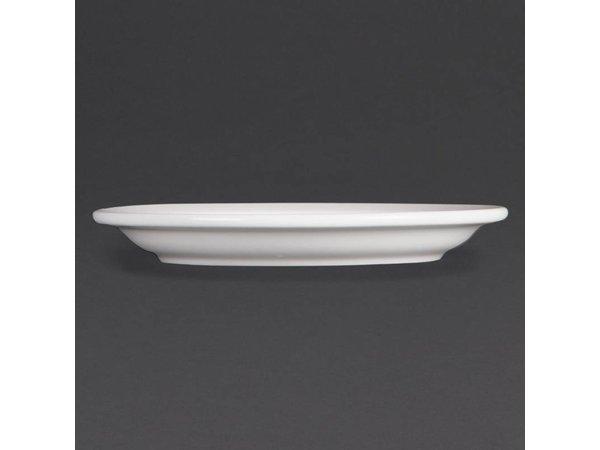 Olympia Bord Smalle Rand | Olympia Wit Porselein | 150mm | 12 Stuks
