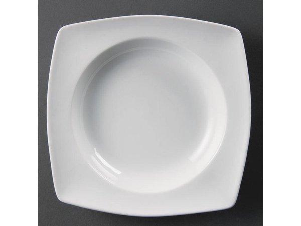 Olympia Kom Vierkant Afgerond | Olympia Wit Porselein | 210x210mm| 4 Stuks