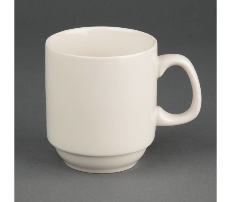 Olympia Ivory Stapelbare Mok | Duurzaam Porselein | 285ml | 12 Stuks