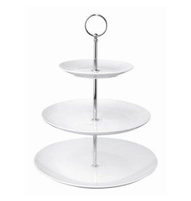 Olympia High Tea Cake Stand | 3 Porcelain Plates | Ø152 / 229 / 270x341 (h) mm