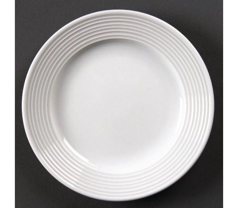 Olympia Bord Brede Rand | Linear Wit Porselein | 150mm | 12 Stuks