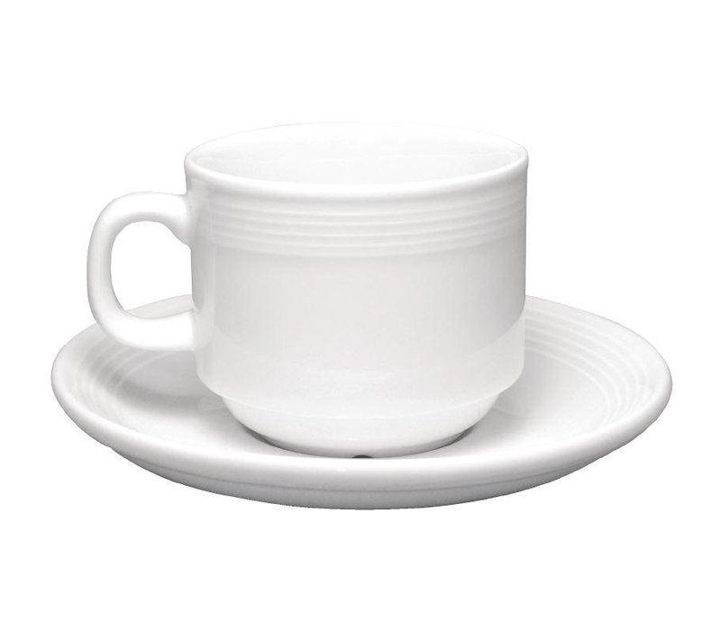 Olympia Koffiekop | Linear Wit Porselein | 210ml | 12 Stuks