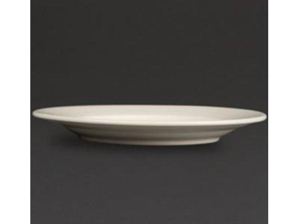 Olympia Ivory Bord Brede Rand | Duurzaam Porselein | 200mm | 12 Stuks