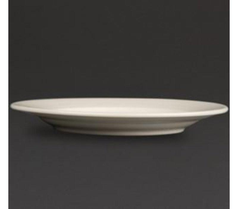 Olympia Elfenbeinplatte Broad Grenze | Durable Porzellan | 200mm | 12 Stück