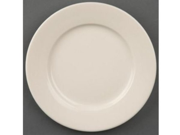 Olympia Ivory Plate Broad Border | Durable porcelain | 200mm | 12 pieces