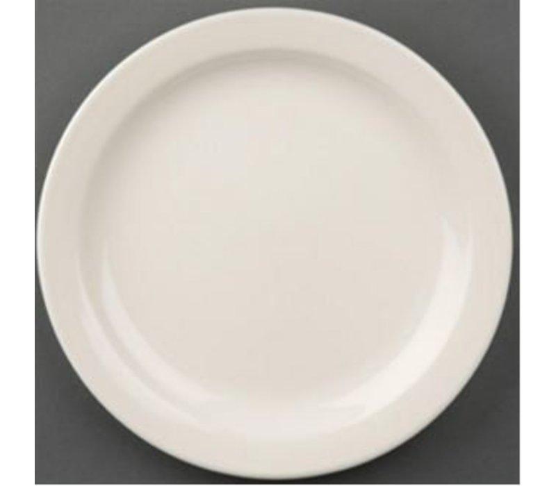 Olympia Elfenbeinplatte Schmalkantenfuß | Durable Porzellan | Ø180mm | 12 Stück