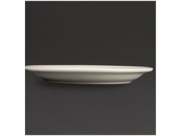 Olympia Ivory Bord Smalle Rand | Duurzaam Porselein | Ø250mm | 12 Stuks