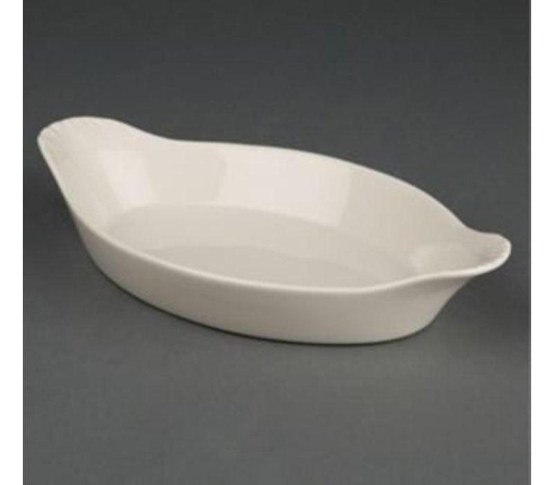 Olympia Ivory Gratineerschaal Ovaal | Duurzaam Porselein | 140x260mm | 6 Stuks