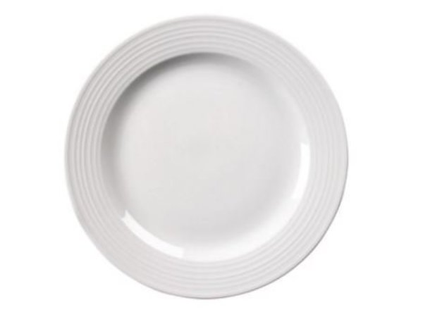 Olympia BORD Broad Grenze | Linear Weißes Porzellan | 200mm | 12 Stück