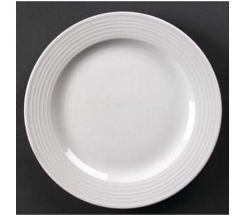Olympia Bord Brede Rand | Linear Wit Porselein | 310mm | 6 Stuks