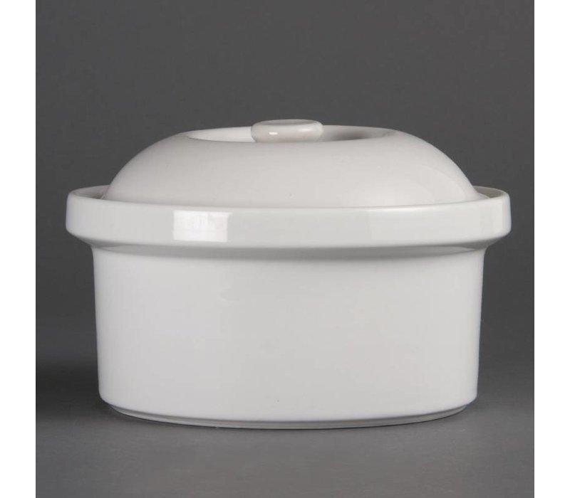 Olympia Pan met Deksel | Olympia Wit Porselein | 200x200x130mm
