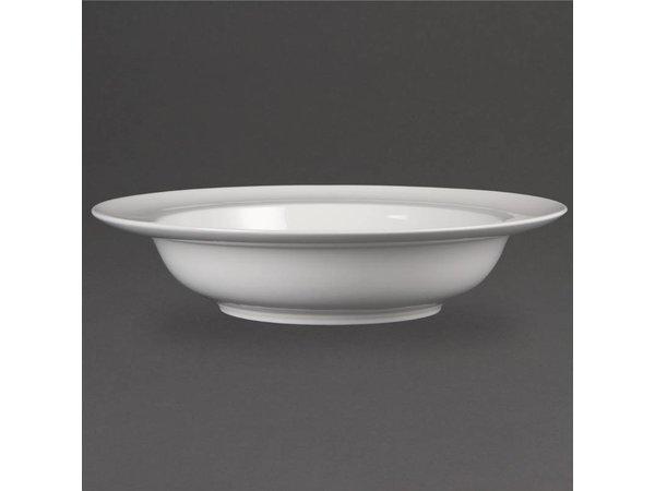 Olympia Schaal met Brede Rand | Wit Porselein | 228x228x73mm | 4 Stuks