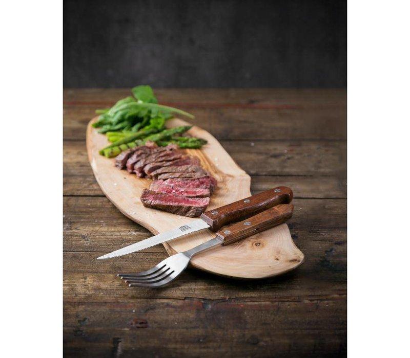 XXLselect Steakmes Gekarteld | Houten Heft | 12 Stuks