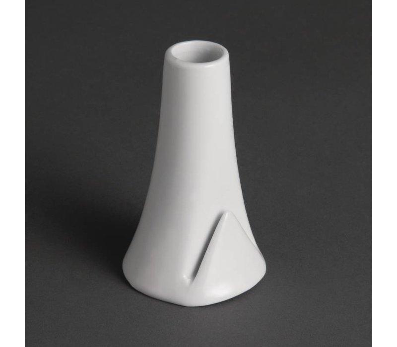 Olympia Vaasje met Kaarthouder | Wit Porselein | 100(h)mm | 12 Stuks