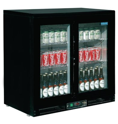 Polar Bar fridge Black | 2 Sliding doors | 168 Bottles | 900x535x870 (h) mm