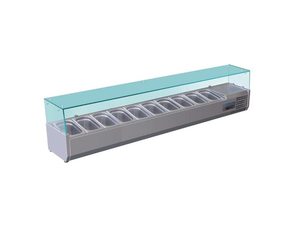 Polar Refrigerated display case design stainless | 10x GN1 / 4 | 2000 (b) X380 (l) x435 (H) mm