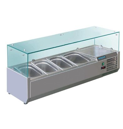 Polar Opzetkoelvitrine RVS | 5x 1/3GN | 1200(b)x380(l)x435(h)mm