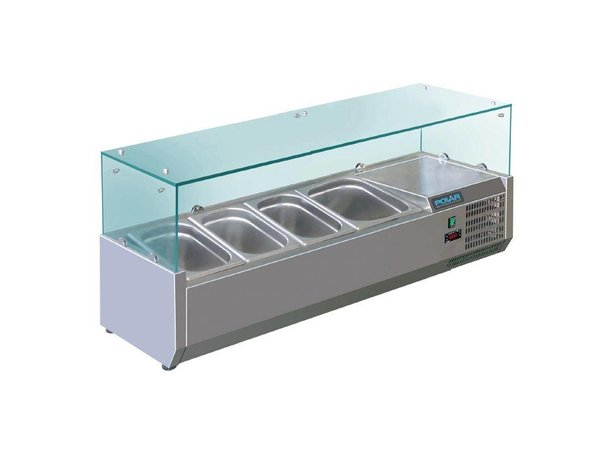 Polar Refrigerated display case design stainless | 5x 1 / 3GN | 1200 (b) X380 (L) x435 (H) mm