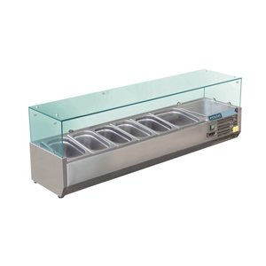 Polar Refrigerated display case design stainless | 6x GN1 / 3 | 1500 (b) X380 (L) x435 (H) mm