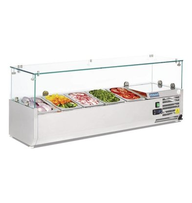 Polar Refrigerated display case design stainless | 5x GN1 / 4 | 1200 (b) X380 (d) x435 (H) mm
