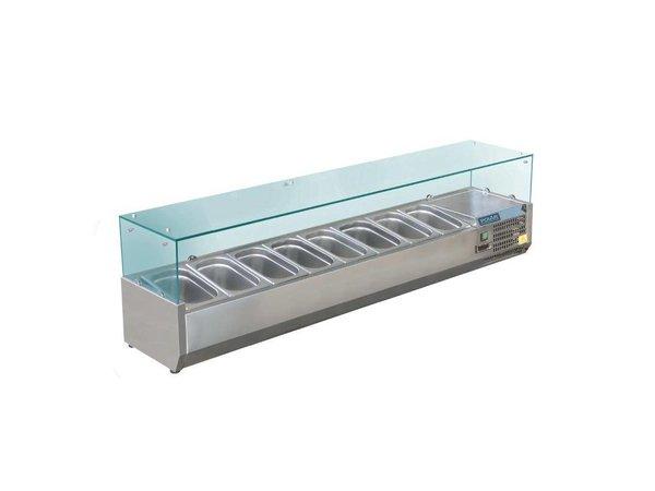 Polar Kühlvitrine Design aus rostfreiem | 9x GN1 / 3 | 1800 (b) X380 (l) X435 (H) mm