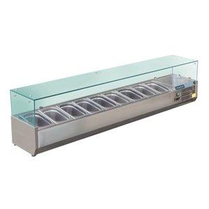 Polar Kühlvitrine Design aus rostfreiem | 10x GN1 / 3 | 2000 (b) X380 (l) X435 (H) mm