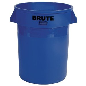 Rubbermaid Ronde Afvalbak Blauw + Recycle Logo | Rubbermaid | 121 Liter