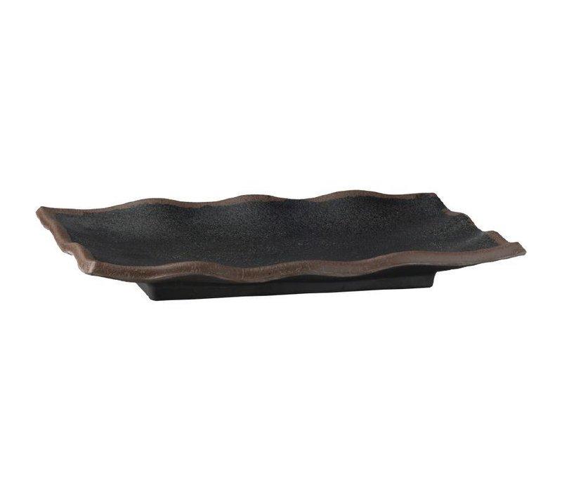 APS Gegolfde Schaal Marone | Zwart | 2x27,5x11cm