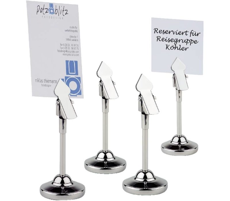 APS Table Number holder SS | Incl. 20 White Cards | 4 pieces