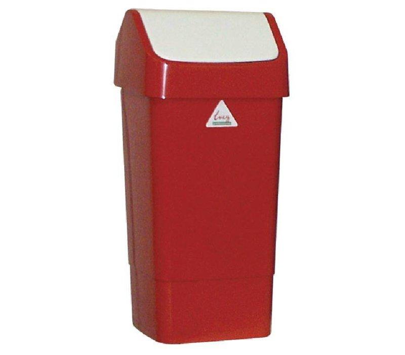 XXLselect Afvalbak met Schommeldeksel | 50 Liter| Rood