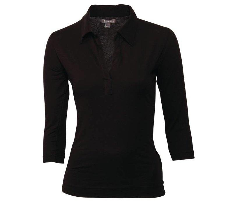 XXLselect Dames Shirt Zwart | Uniform Works | Beschikbaar in 5 Maten
