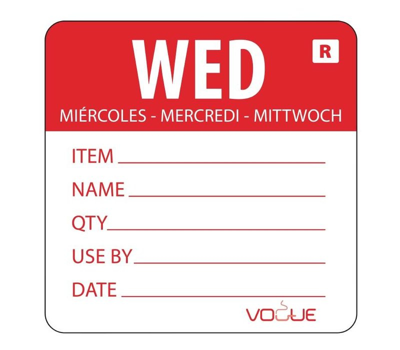 XXLselect Kleurcode-Sticker Woensdag | Rood | per 500