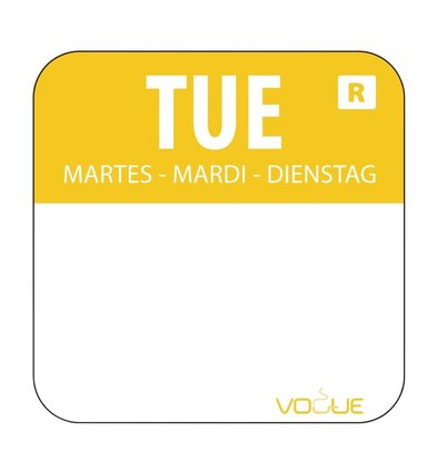 XXLselect Kleurcode-Stickers Dinsdag | Geel | per 1000