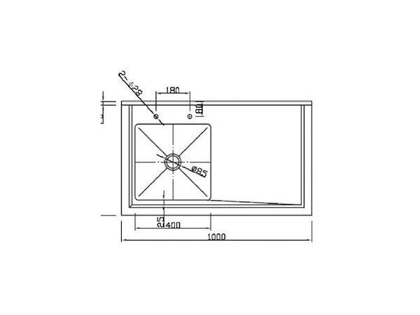 XXLselect Spoeltafel RVS | 2 Bakken Rechts | 150x60x90(h)cm