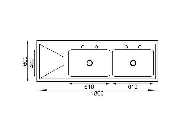 XXLselect Spoeltafel RVS | 2 Bakken Rechts | 180x60x90(h)cm
