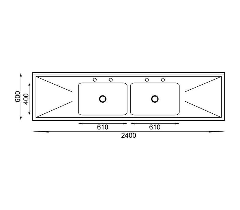 XXLselect Spoeltafel RVS | 2 Bakken Midden | 240x60x90(h)cm
