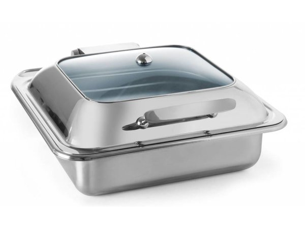 Hendi Chafing Dish stainless steel GN 2/3 | Glass Lid | Induction