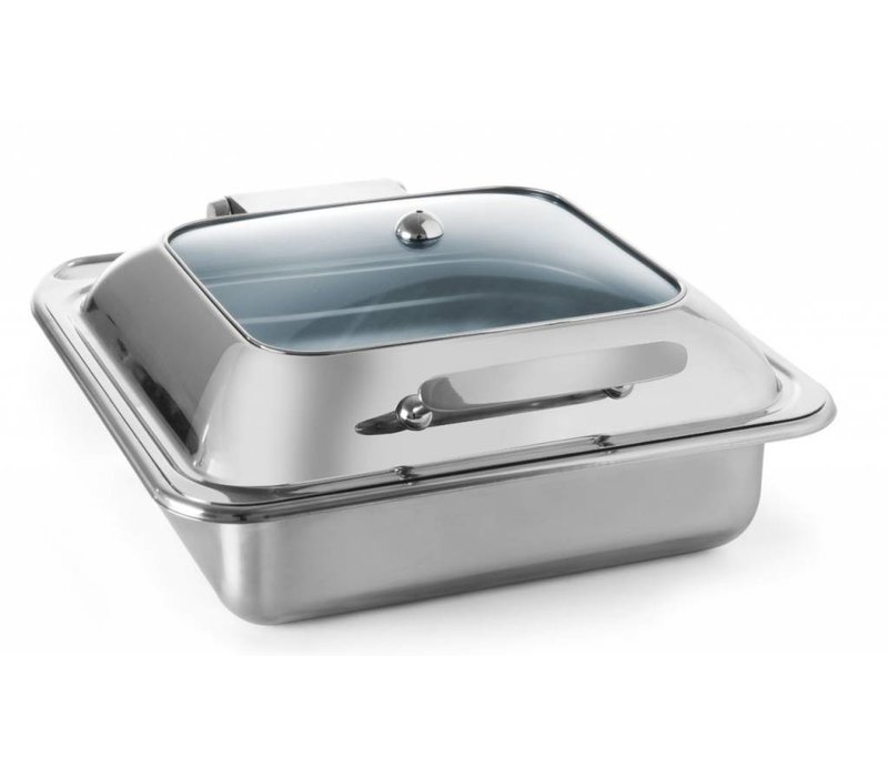Hendi Chafing Dish aus Edelstahl GN 2/3 | Glasdeckel | Induktion