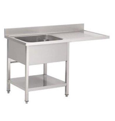 Gastro M RVS Spoeltafel met ruimte voor vaatwasmachine 1200x700x850mm