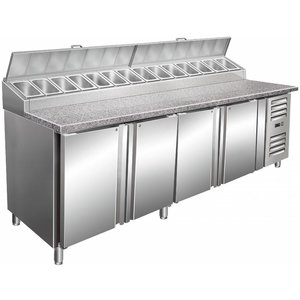 Saro Pizza Workbench XXL - 4-Door + DESIGN: 14x1 / 3GN + Granit Arbeitsplatte - Bäckerei 600x400mm - 2500mm (b)