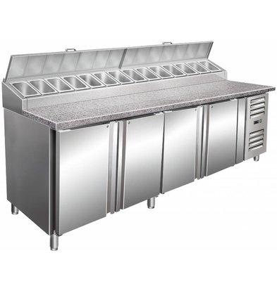 Saro Pizza Workbench XXL - 4-Door + DESIGN: 14x1 / 3GN + Granit Arbeitsplatte - Bäckerei 600x400mm - 2500mm (b)