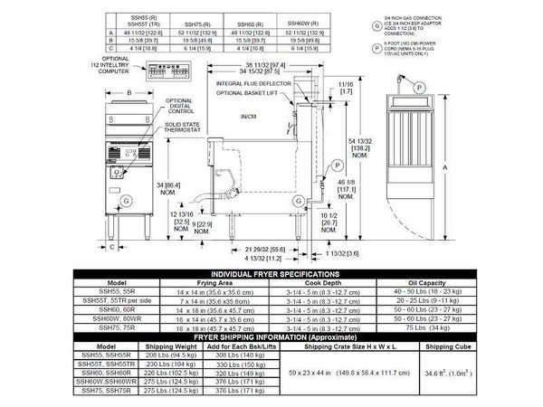 Pitco Digital Gas Fryer | Pitco Solstice Supreme SSH55 | 23KW | Oil 23kg | 75kg / h | 397x875x864 (h) mm