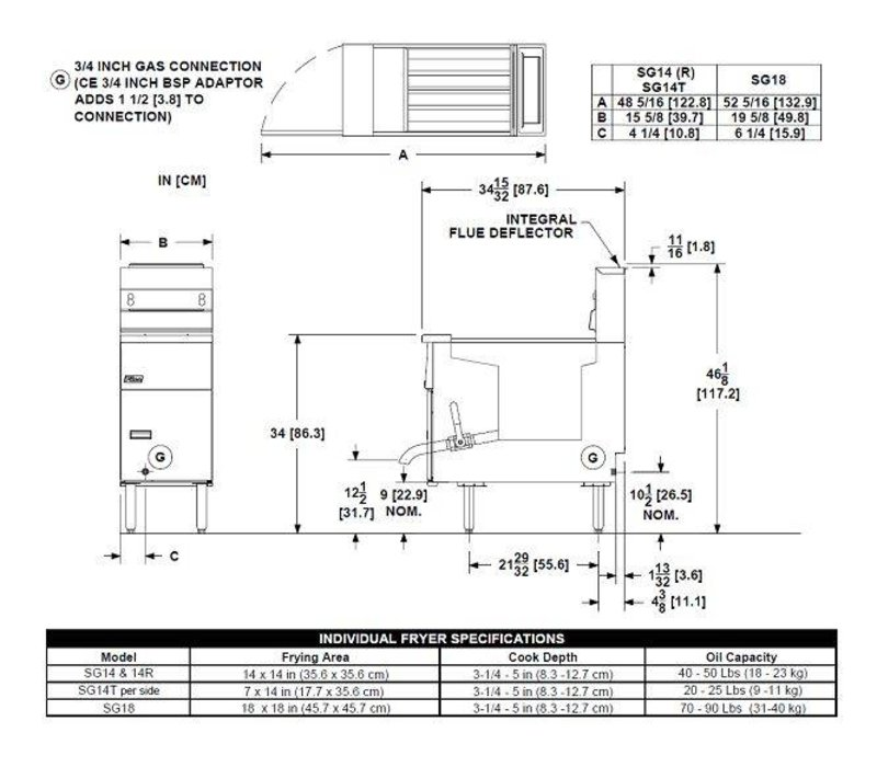 Pitco Friteuse Gas Digital   Pitco Solstice SG14S   32kW   Olie 23Kg   60Kg/u   397x864x864(h)mm