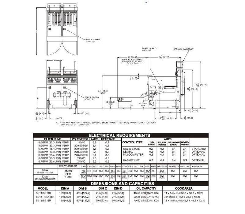 Pitco Fritteuse Elektro-Computer | Pitco SE18 | 22kW | Oil 41kg | 105kg / h | 499x873x864 (h) mm