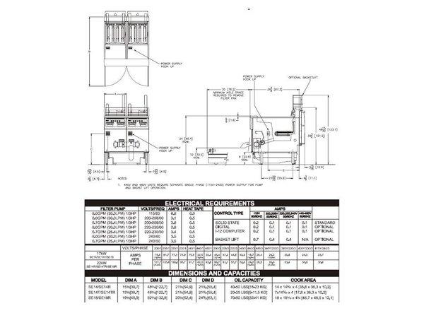 Pitco Friteuse Elektrisch Solid State | Pitco Solstice SE14T | 8,5kW | Olie 11,5kg | 75Kg/u | 397x873x864(h)mm